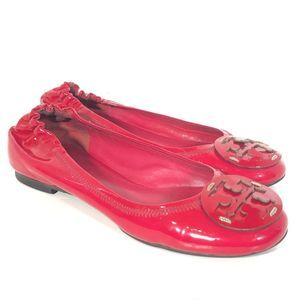 Tory Burch Party Fuchsia Patent Reva Flats size 5